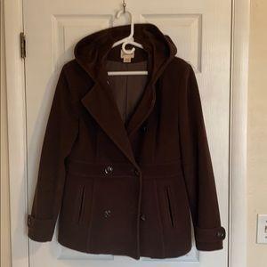 Brown hooded wool blend pea coat